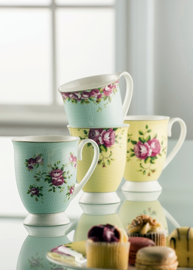 Aynsley Archive Rose Footed Mug Set