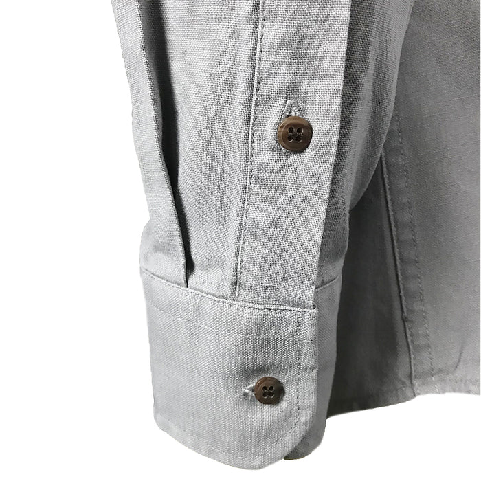 sleeve of ash gray grandfather shirt by celtic ranch