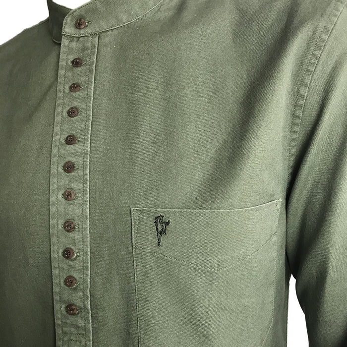 inset of dark green grandfather shirt by celtic ranch