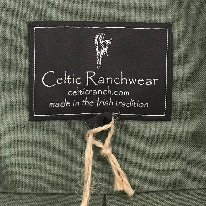 label of dark green grandfather shirt by celtic ranch