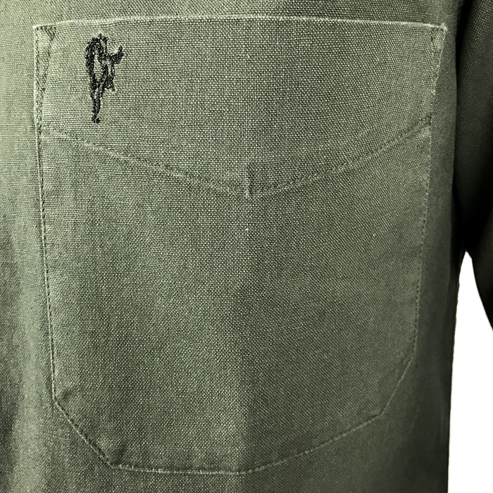 pocket of dark green grandfather shirt by celtic ranch