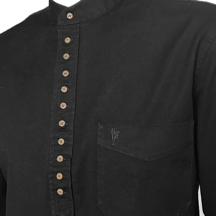 inset of meterorite black grandfather shirt by celtic ranch