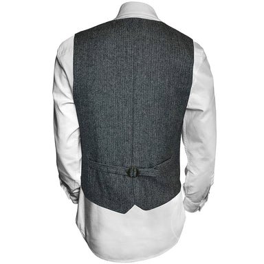 back of  gray and white wool blend vest by celtic ranch