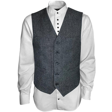 front of gray and white wool blend vest by celtic ranch