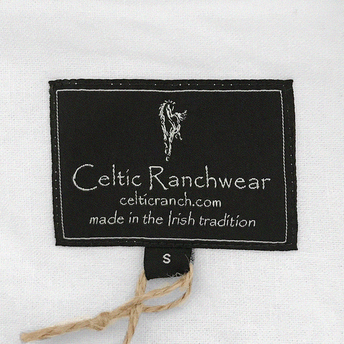 label of white grandfather shirt by celtic ranch
