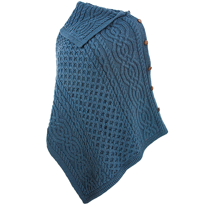 side view of mallard cowl neck button poncho by west end knitwear