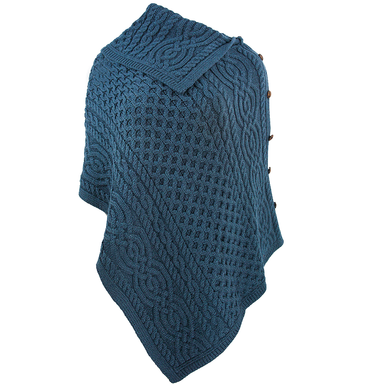 front of mallard cowl neck button poncho by west end knitwear