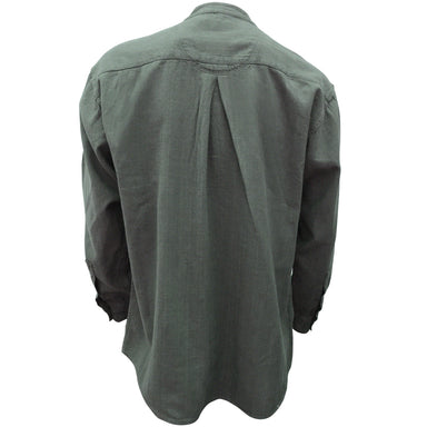 back of army green grandfather shirt by civilian