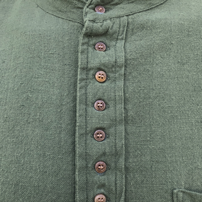buttons and close up of petrol grandfather shirt by civilian