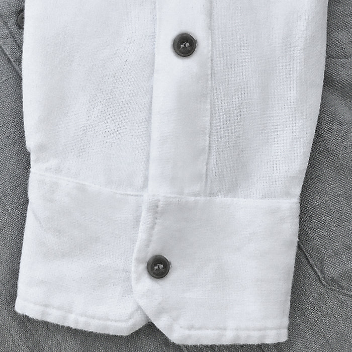 inset buttons of white grandfather shirt by civilian