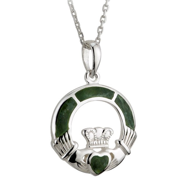irish connemara marble claddagh necklace by solvar