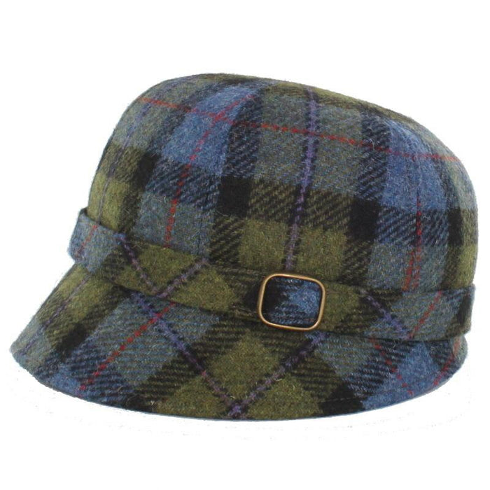 flapper hat / color 772-2 green blue multi plaid