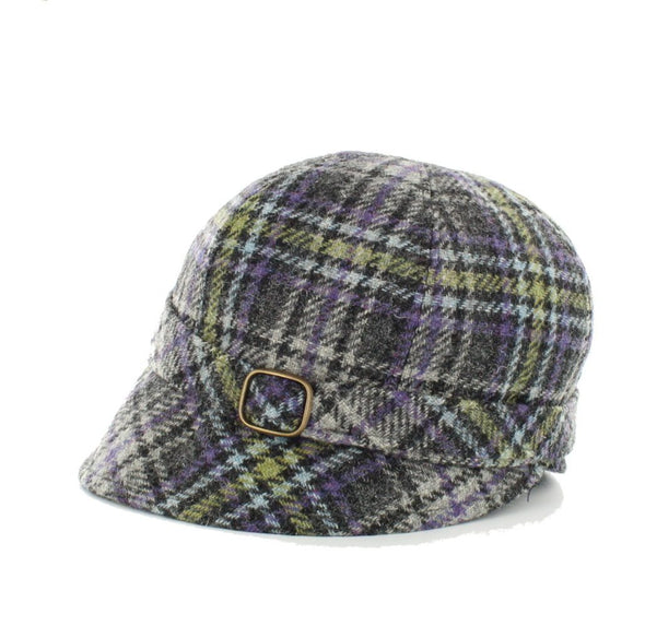irish flapper hat for women / color 801-2 lime green purple plaid