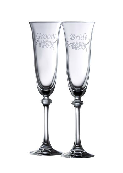 Floral Bride & Groom Calway Crystal Flute Pair