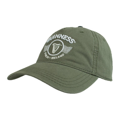 green embroidered harp graphic cap by guinness
