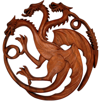 Hand Carved Three Headed Dragon