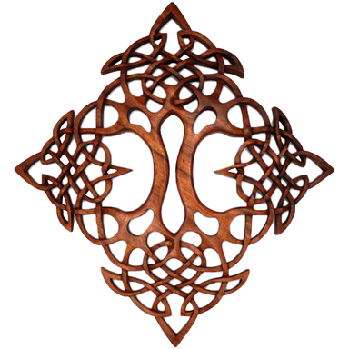 Hand Carved Square Double Tree of Life