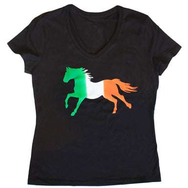front of irish tri-color horse tee for ladies