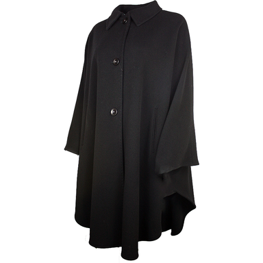 side view of black jimmy hourihan pure new wool and cashmere cape