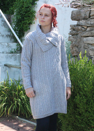 Large Collar Button Coat by West End Knitwear Ltd. / soft grey