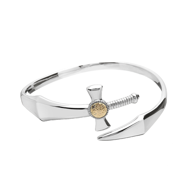 Nuada Sterling Silver Sword Bangle w 18K Plate