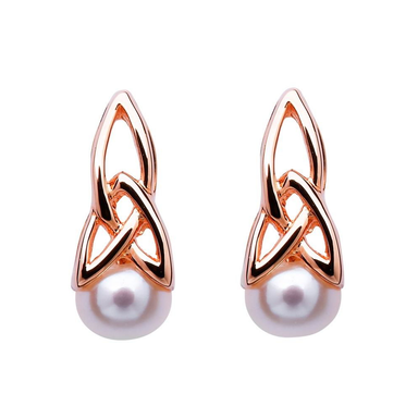 rose gold plate trinity pearl earrings