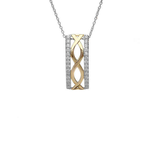 Sterling Silver Celtic Pendant with CZ and Gold Plate