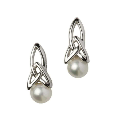 Sterling Silver Trinity Knot Pearl Earrings