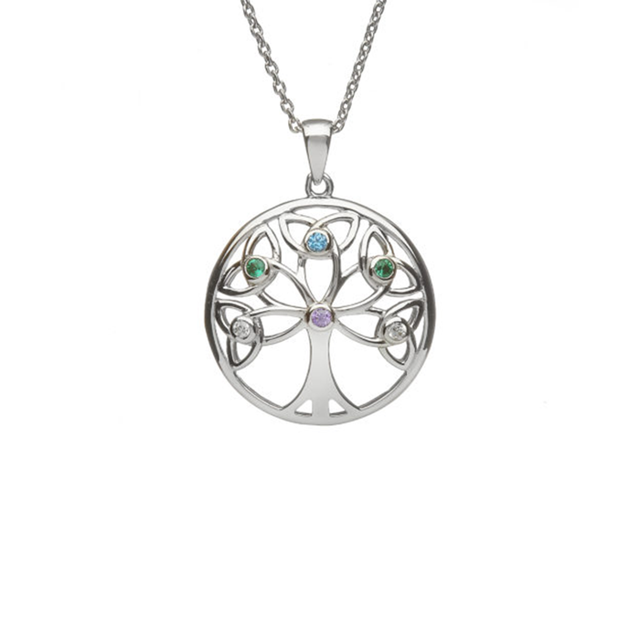 Sterling Silver Trinity Tree of Life Pendant with Stones