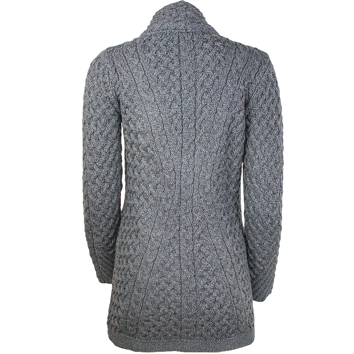 kinsealy trellis knit side zip sweater by irelands eye knitwear back view
