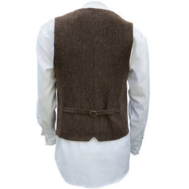 back of brown blended wool vest by celtic ranch