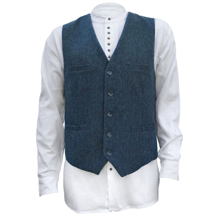 front of navy blended wool vest by celtic ranch