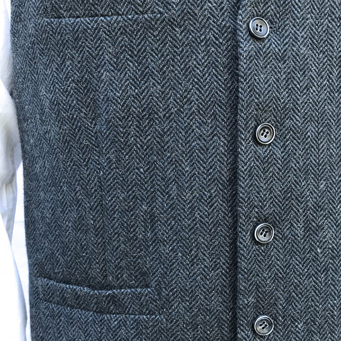 buttons and detail of  navy blended wool vest by celtic ranch
