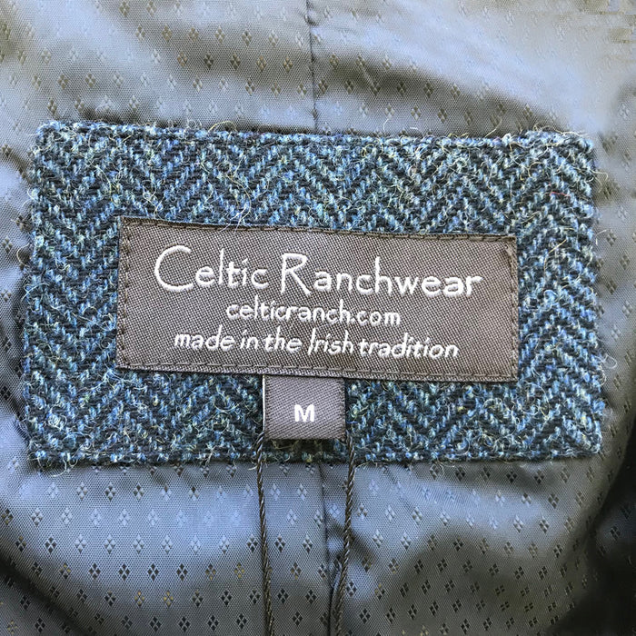 label of  navy blended wool vest by celtic ranch