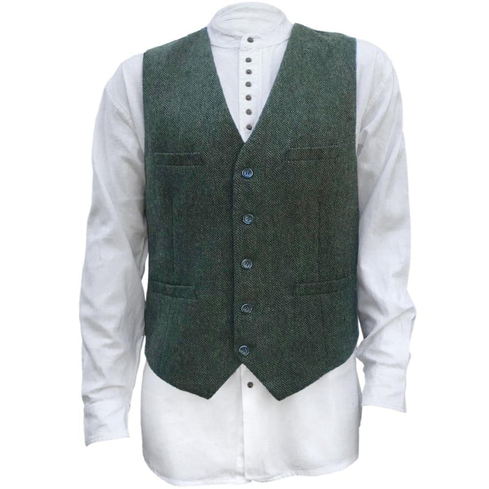 front of olive green blended wool vest by celtic ranch