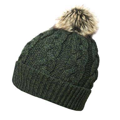 army green wool cable knit hat by west end knitwear