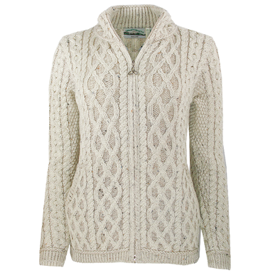 Irish Cable Knit Front Zip Wool Sweater