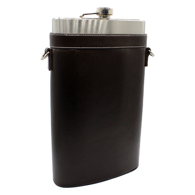 large flask with leather case and strap by a e williams