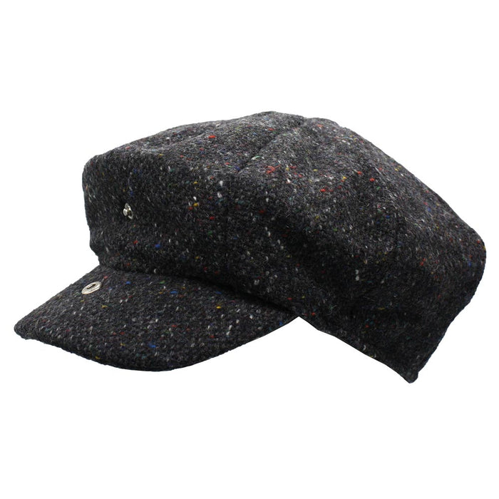 side view of open abbey tweed cap with extended bill by hanna hats