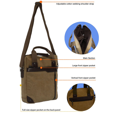 diagram of 14.5 inch canvas messenger by accorda international