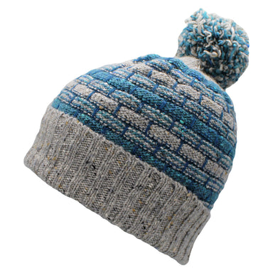 grey and blue basket weave bobble hat by aine knitwear