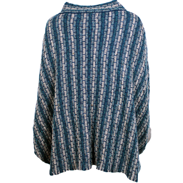grey and blue basket weave sweater poncho by aine knitwear