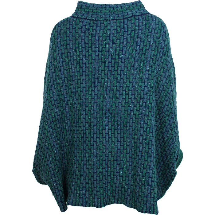 jade basket weave sweater poncho by aine knitwear