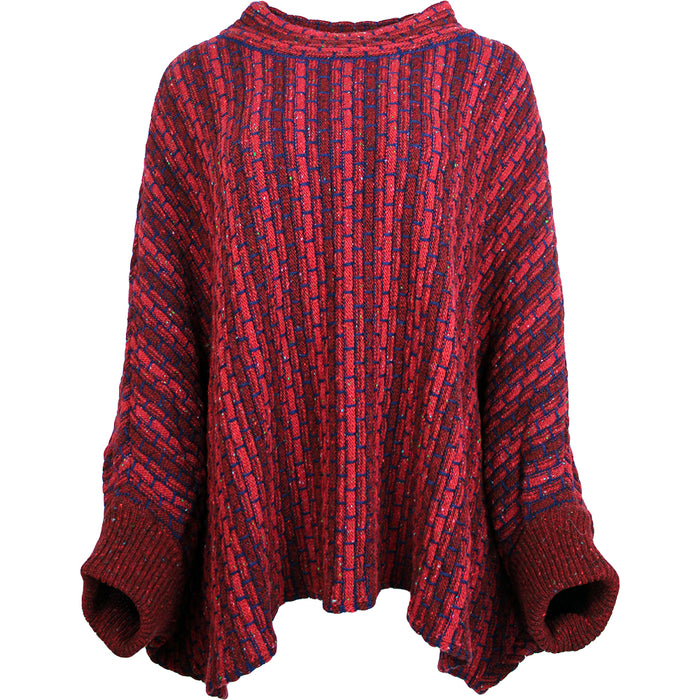 redberry basket weave sweater poncho by aine knitwear