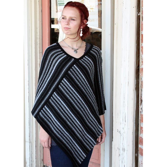 model of charcoal sligo striped pullover poncho by aine
