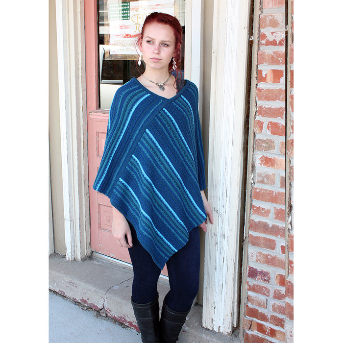 model of petrol sligo striped pullover poncho by aine