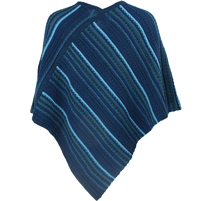 back of petrol sligo striped pullover poncho by aine