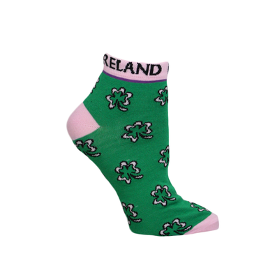 Pink Shamrock Ankle Socks