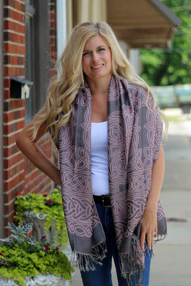 model of grey and pink black and iridiscent anne trinity scarf