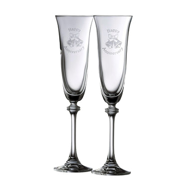 happy anniversary crystal flute pair by galway crystal